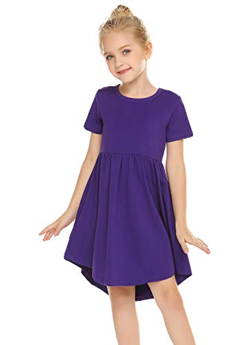 Balasha Girl's Summer Casual Dress Short Sleeve Cotton Swing Skater Twirly T-Shirt Dress Purple, 10-11 Years -