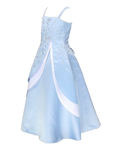 Go2victoria Satin Party Bridesmaids/Flower Girl Dress 14 Years Blue (BL6339-14)