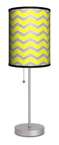 "Lamp-In-A-Box SPS-DEC-GYCHV Decor Art Grey and Yellow Chevron Sport Lamp, 7"" x 7"" x 20"", Silver"