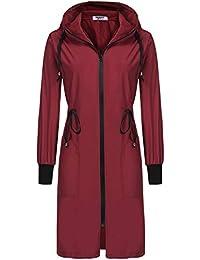 Women's Lightweight Waterproof Raincoat Hood Long Outdoor Hiking Rain Jacket