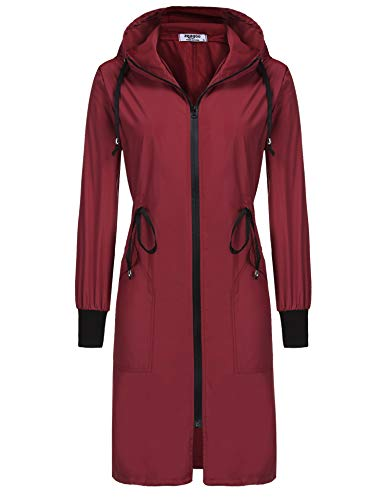 ELESOL Zip Windbreaker Waterproof Rain Jacket Women Packable Long Raincoat Maroon
