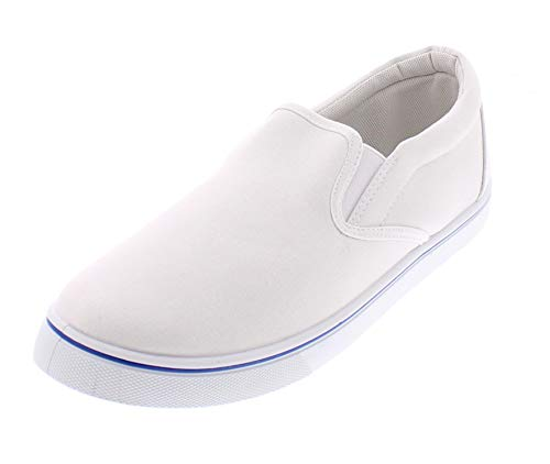 Doug Mens Slip On Shoes,Casual Skate Canvas Sneakers,Slipon Men's Boat Deck Shoe White 7.5D ()