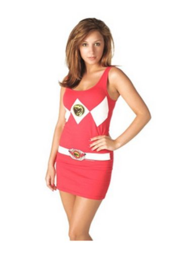 The Power Rangers Red Tunic Tank Dress with Socks (Juniors X-Large) -