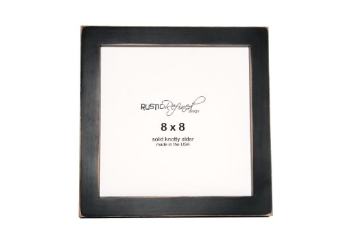 Rustic and Refined Design 8x8 Solid Wood Made in USA Picture Frame with 1 Inch Border (Gallery Collection) - Black