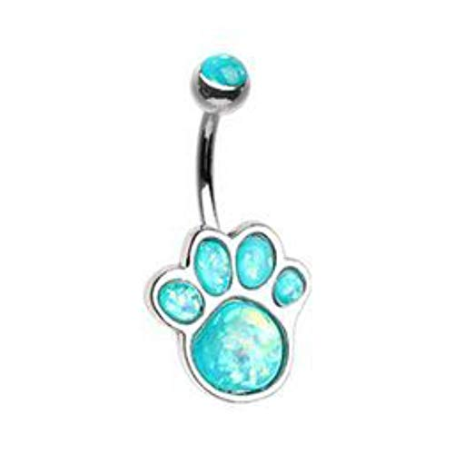 14 GA Animal Lover Opal Paw Print Belly Button Ring (Sold Individually Gold or Rhodium Plated) (Rhodium Plated/Teal)