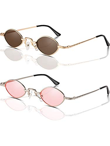 Blulu Vintage Slender Oval Sunglasses Small Metal Frame Sunglasses Retro Sunglasses Candy Color (Color 7) ()