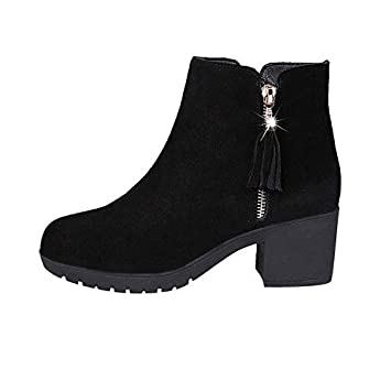 HRCxue Tacco a Spillo Thick Heel Booties Tassel Double Zipper Sandals Boots with Bare Boots Thick Ankle Boots