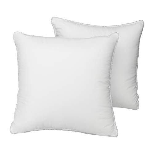 HOMEIDEAS Throw Pillow Inserts - 100% White Cotton Hypoallergenic Cover & Square Down Alternative Filled - Decorative Sofa Cushion Insert, 18 x 18 inch, Pack of 2