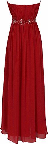 Mic Dresses Strapless Chiffon Goddess Long Prom Dress Bridesmaid (US 6, Red)