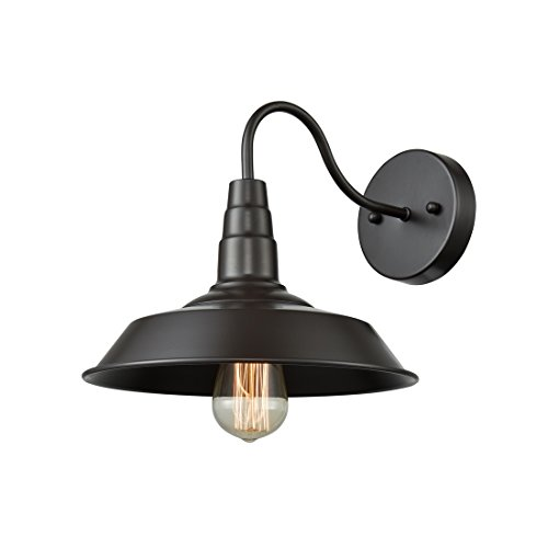 Axiland Antique Oil Rubbed Bronze Gooseneck Wall Sconce Barn Wall Lamp Fixture (Barn Vanity Light)