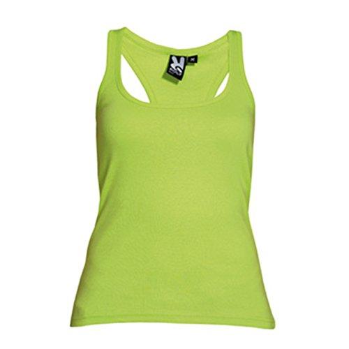 Camiseta entallada, con sisas y escote ribeteado, ancho y enrollado. verde lima