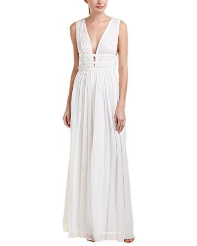 Nicole Miller Women's Gladiator Combo Silk Ggt Low Neck Gown, White/White/White, 4