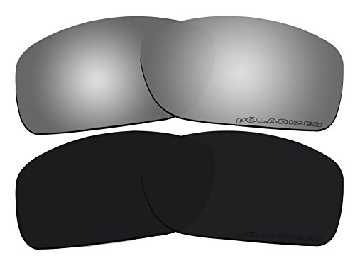 2 Pairs Lenses Replacement Polarized Black & Black Mirror for Oakley Canteen 2014 (Canteen New) OO9225 - Replacement Canteen Oakley Lenses