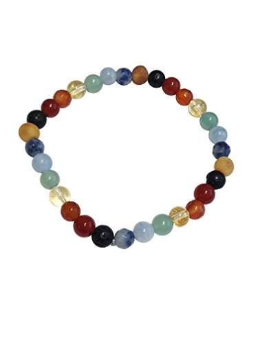 Baltic Amber and Gemstones Adult Bracelet Made by UMAI - Pain Relief from Carpel Tunnel - Made of Certified Baltic Amber - Anti-inflammatory (Rainbow)