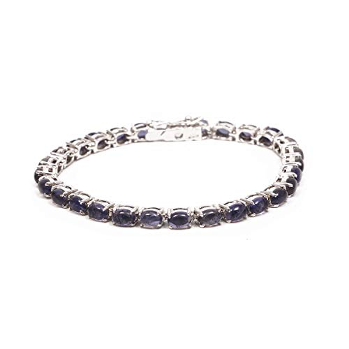 (925 Sterling Silver Bracelet | Natural Gemstone Iolite Bracelet for Girls and Women | Silver Gemstone)