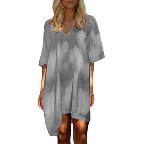 Sexy Short Summer Dresses for Women Plus Size 2019 Casual Loose Solid V-Neck Half Sleeve T-Shirt Dress Beach Cover Up Gray