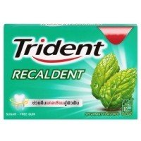 Trident Recaldent Chewing Gum Spearmint Flavored Sugar Free Dental Health Net Wt 11.2 G(pack of 3)