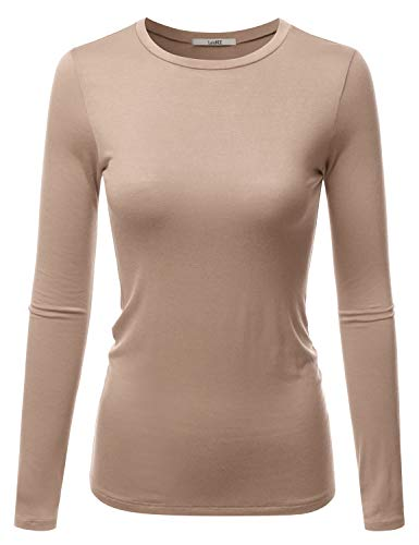 Basic S/s Crewneck Tee - LALABEE Women's Casual Long Sleeve Crewneck Stretch Slim Fit Basic Top T-Shirt NATURALKHAKI S