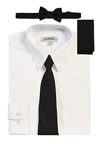 Sleeve White Dress Shirt with Black Zippered Tie, Bow Tie, and Handkerchief Set, Size 10 ()