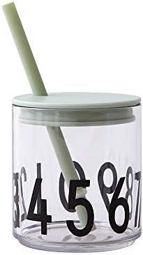 Deckel mit strohhalm für Design Letters Trinkglas (GRÜN)