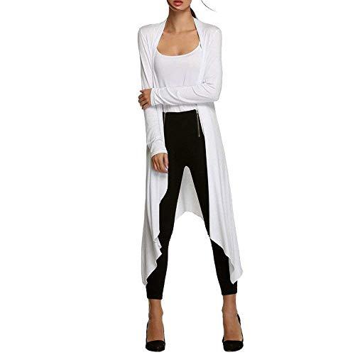 BIRAN Cardigan Femme Longues Printemps Automne Ouvert Elgante Manteau Dcontract Large Irregular breal Asymmetric Manches Longues Blouson Outerwear Couleur Unie Blanc