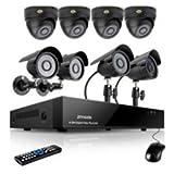 Zmodo 8channel DVR Security Cameras System w/ 4 Outdoor Bullet+ 4 Indoor Dome 600TVL Hi-Resolution Video Surveillance Cameras 1TB HDD