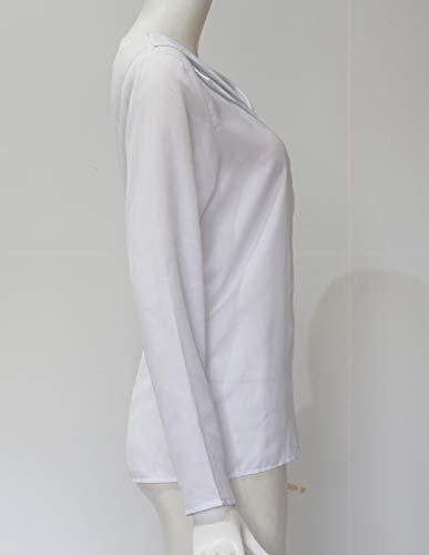 Couleur Casual Femmes Shirt Mode Haut Automne T Blouses et Printemps Manches Chemisiers Tops Shirt V JackenLOVE Col Unie Longues vPnfXYqw