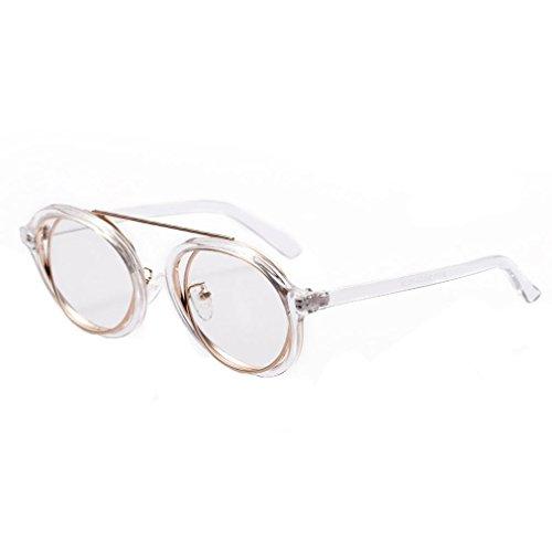 Limsea Hot Sale! Men Womens Retro Vintage Round Frame UV Sunglasses (Clear)