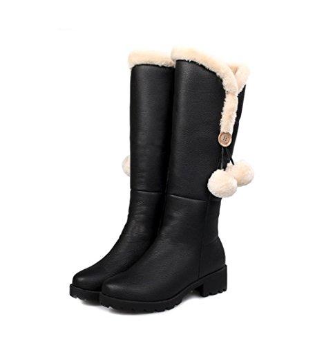 Black Tacco Slouch Stivali toe Orange 4u Heels Delle Casual Style Donne Shoes Scarpe Inverno Boots Migliore Warm Chunky Caldo Best Slouch Orange Round Pu Arancione Nero Stile Women's Winter Cerniera 4u Grosso Casual Arancione Zipper Pu Round toe Aq4nAUTW