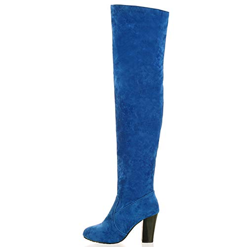 Blu Donne On Stivali Heels Pull Ginocchio Casual Melady RqZwpafp