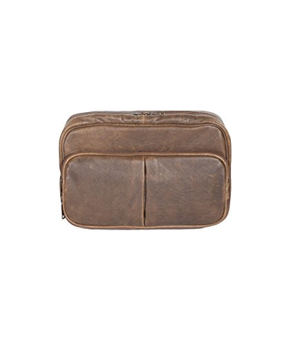 Scully Aero Squadron Vintage Leather Large Hanging Toiletry Shave Kit Walnut by Scully