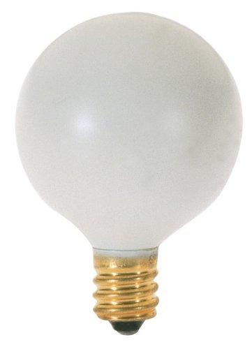 Satco S3830 120V Pear Candelabra Base 10-Watt G12.5 Light Bulb, White