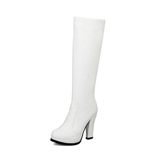 Amoonyfashion Femmes Rond Fermé Orteil Pu Glissière Haut-talons Haut-bottes Blanc