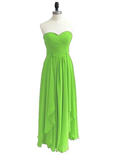 Robes De Demoiselle D'honneur Sans Bretelles Dreagel Longues Robes De Soirée De Bal Plissés Pour Les Femmes Citron Vert