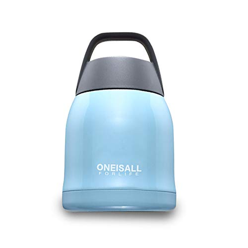 ONEISALL Kids Insulated Soup Flask - Double Wall Stainless Steel Vacuum Insulated Food Jar - Lunch Container with Spoon and Carry Bag (Blue)