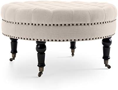 home, kitchen, furniture, accent furniture,  ottomans 1 on sale BELLEZE Tufted Beige Linen 33-inch Round Accent promotion