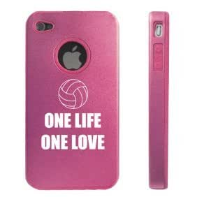 Apple iPhone 4 4S Pink D4414 Aluminum & Silicone Case Cover One Life One Love Volleyball