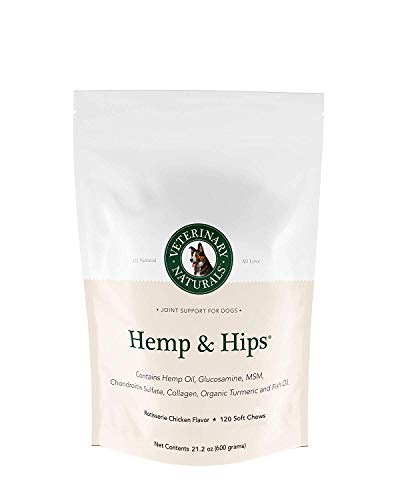 Veterinary Naturals Hemp & Hips Soft Chews Joint Supplement for Dogs - Hemp Oil, Turmeric and Glucosamine for Dogs - Joint Support for Dogs' Arthritis - Dog Joint Supplements, 120 Chews, Chicken Flavo
