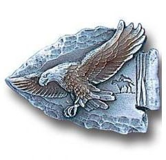 Pewter 3-D Collector Pin - Eagle on Arrowhead