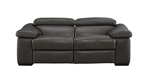 Amazon.com: Ignazio Anthracite Leather Motion Loveseat ...