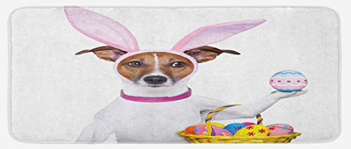 Ambesonne Easter Kitchen Mat, Dog Dressed up as Easter Bunny Holding a Basket of Eggs Funny Animal Illustration, Plush Decorative Kithcen Mat with Non Slip Backing, 47 W X 19 L Inches, Multicolor]()