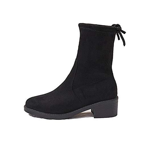 DADAWEN Schlupfstiefel Damen Elastische Mädchen für Schwarz Herbst Winter Boots Frühling pSqPpvxwnZ