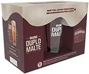 Kit Cerveja Brahma Duplo Malte - 6 Latas 350ml + 1 Copo Brahma 350ml