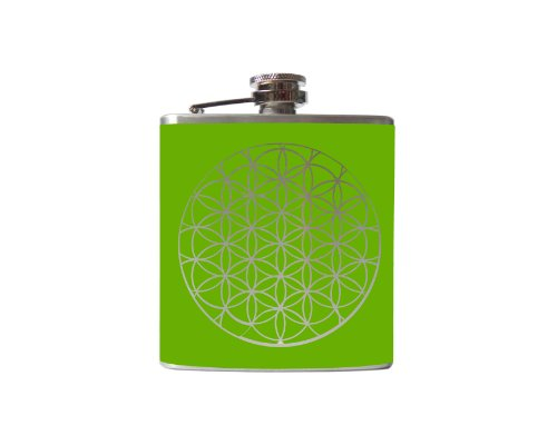 Flower of Life Flask (6 Ounce, Lime Green - Matte)