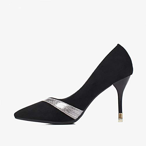 Jqdyl Zapatos de tacón Alto nuevos de Las Mujeres Elegantes Puntadas de Aguja Zapatos únicos de Punta de Estilete