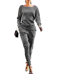8e4e7300cf Womens Fall Rib-Knit Pullover Sweater Top   Long Pants Set 2 Piece Outfits  Tracksuit
