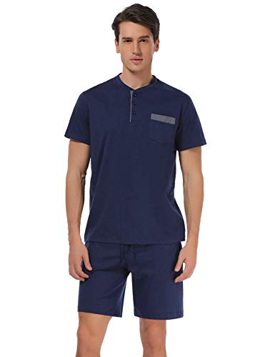 - Aibrou Men's Pajamas Set Short Summer Crew Neck Lounge Sleepwear Short Sleeve Cotton Pajamas, Dark Blue XL