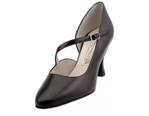 Werner Kern Women's Rita - 2 3/4'' (6.5 cm) Flare Heel, Black Leather with Patent, 7.5 M US (4.5 UK) by Werner Kern