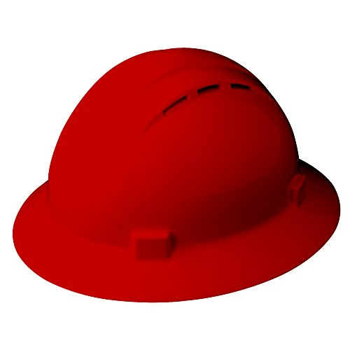 (ERB Safety Products 19434 Americana Full Brim Vent Mega Ratchet Hard Hat, Size: 6 1/2 - 8, Red)