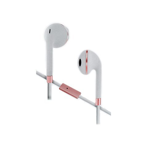 SENTRY HB875 Stereo Earbuds, White-Rose gold, IN-LINE MIC, ZIPPERED CASE (Sentry Earphones Headphones)